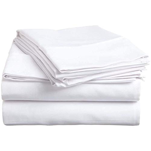Twin-Xl sheets Extra Deep Pockets 15 Inch 500 Thread Count 4 Piece Sheet Set 100% Cotton Sheet Set White Solid Sheet,long staple cotton Bedsheet And Pillow Cover,Sateen Finish,Soft,Breadthable