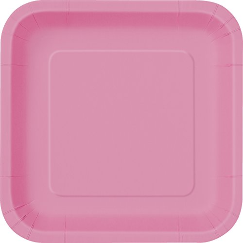 "Square Dinner Plates, 8.875"", Hot Pink, 14ct"
