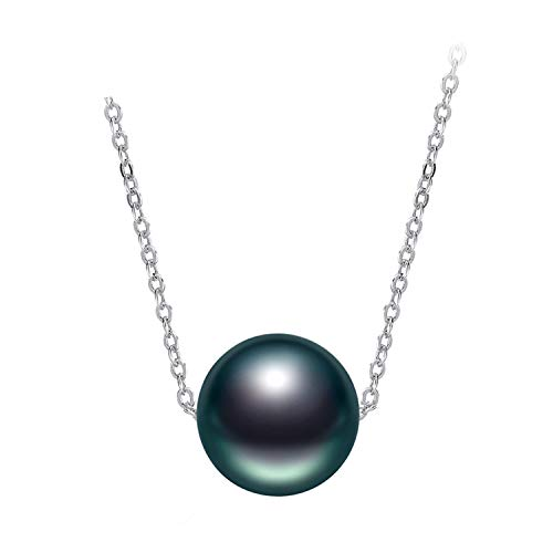 Black Tahitian Pearl Necklace 925 Silver Chain Necklace Single Pearl Pendant Necklace Fine ()