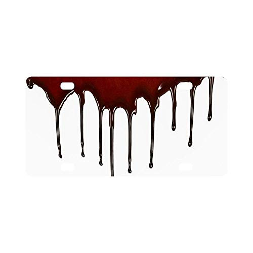 Dripping Blood Horror Halloween Bloody Theme License Plate Cover, Decorative Car Tag Holder Aluminium Metal, License Plate for Women/Men 4 Holes and Screws 6''x12''