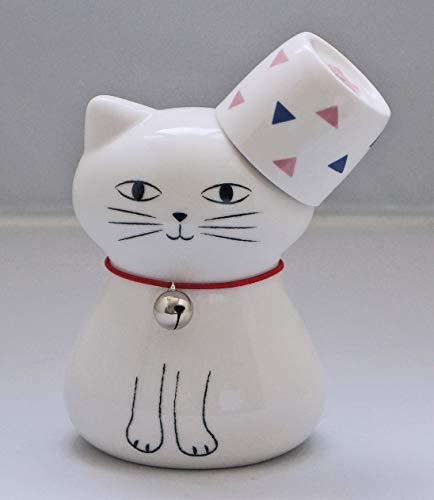Okura Porcelain Cat Sake Set 1 Cup 40cc & 1 Cat-Shaped Decanter 270ml - White Cat and Triangles Cup 200079