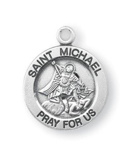 Sterling Silver Round Shaped St. Michael (Michael Sterling Round Medal)