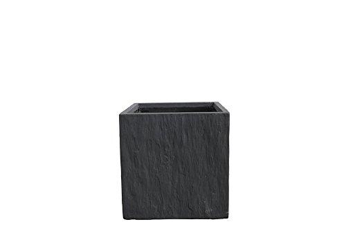 - Kasamodern Modern Square Slate Planter Pot, Small, Black Stone