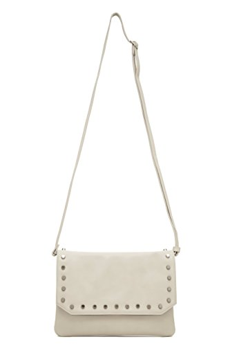 Hbutler Women's MightyPurse Flap Bag, Off White with Silver Studs, ()
