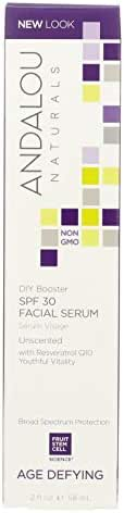 Andalou Naturals Facial Serum - DIY Booster SPF 30 - Fruit Stem Cell - Age Defying - Unscented - 2 oz (Pack of 2)