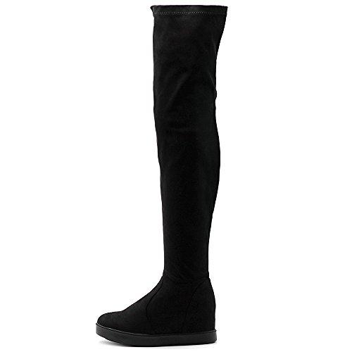 (Ollio Women's Shoes Stretch Faux Suede Thigh High Platform Flat Long Boots TWB01019 (6.5 B(M) US, Black))
