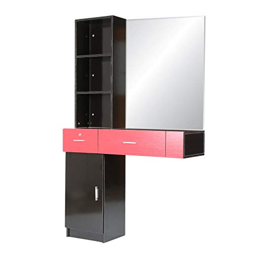 - Homgrace Wall Mount Beauty Salon Spa Hair Styling Station Desk with Cabinet Fashion Beauty Styling Unit, NOT INCLUDED MIRRORS (black&red)
