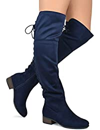 Womens Over The Knee Stretch Boot - Trendy Low Block Heel Shoe - Sexy Over The