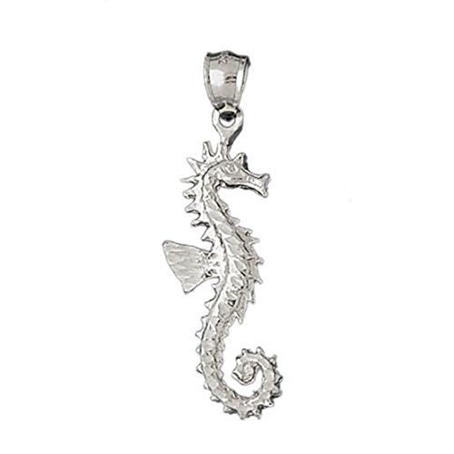 14k White Gold Seahorse Pendant by K&C