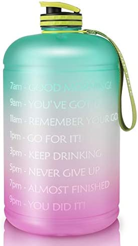 Gallon Water Bottle Portable Water Jug – Fitness Sports Daily Water Bottle with Motivational Time Marker, Leak-Proof Gym Bottle for Outdoor Camping(1 Gallon/73 oz)