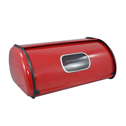 Modern Red Metal Clear Front Window Rolltop 2 Loaf Bread Box/Storage Bin - -