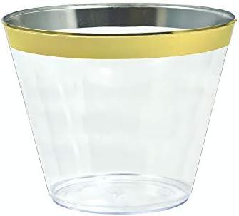 Vasos de plástico desechables con borde dorado, para bodas ...
