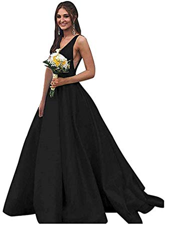 Rjer V Neck Prom Dresses Long Stain Evening Ball Gowns for Women Formal 2019 with Pockets Black 8 ()