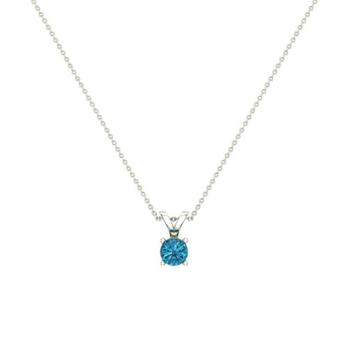 1/4 ct tw 14K White Gold Necklace Fancy Colored Blue Diamond Pendant Round Cut 18