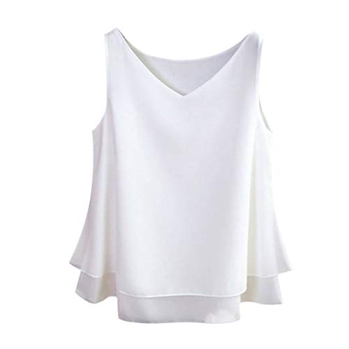 (Women's Sleeveless Off Shoulder Chiffon Tops Solid V-Neck Casual Flowy Shirt Vest by JUSTnowok White)