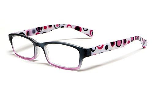 Calabria Hannah Designer Reading Glasses in Purple & Black ; +2.00