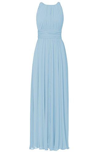 Partei Chiffon Kleid Abend Brautjungfernkleid der Längen Gefaltetes Elegantes Fußboden Hellblau Damen Irenephil Frauen w0SBU