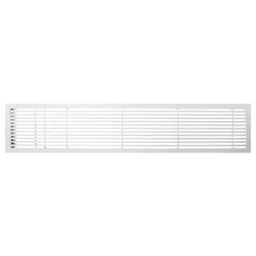 Architectural Grille 200064232 AG20 Series 6'' x 42'' Solid Aluminum Fixed Bar Supply/Return Air Vent Grille, White-Matte with Left Door by Architectural Grille