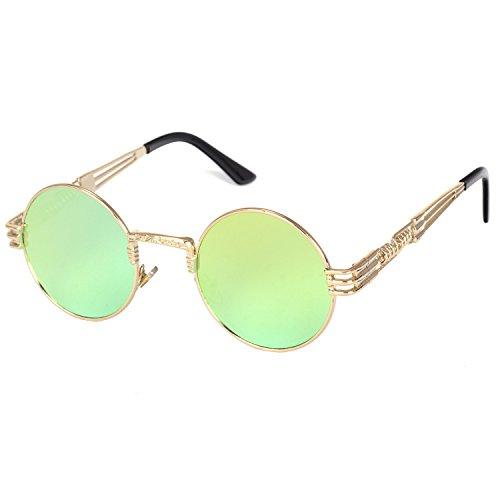 YANQIUYU Gothic John Lennon Metal Spring Frame Round Steampunk Sunglasses retro shade Available (Gold Frame/Yellow Mirrored Lens, - Lennon Yellow Glasses John