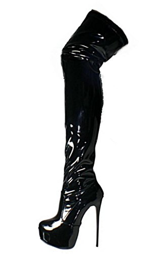 Heels para 36 Botas Overknees mujer Blk Negro Erogance Plateau High wqI0XXE