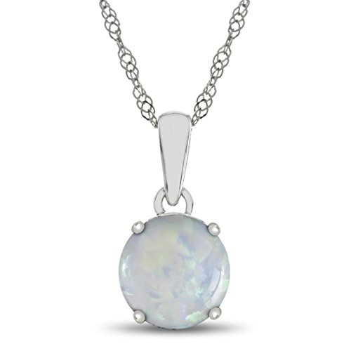 Finejewelers 10k White Gold 7mm Round Created Opal Pendant Necklace