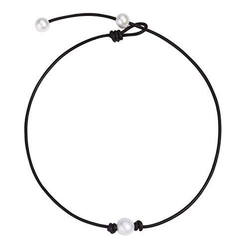 One Single Freshwater Cultured Pearl Choker Necklace on Genuine Leather Cord Adjustable Necklace Handmade Choker Jewelry Gift for Women Girls