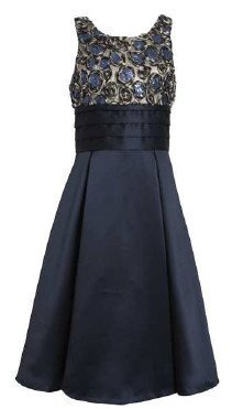 Amazon.com: Girls Special Occasion Dress 7-16 Navy Bonaz to Satin ...