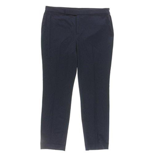 Lauren Ralph Lauren Womens Cropped Faux Pocket Trouser Pants Navy 2 (Ralph Lauren Trousers Cropped)