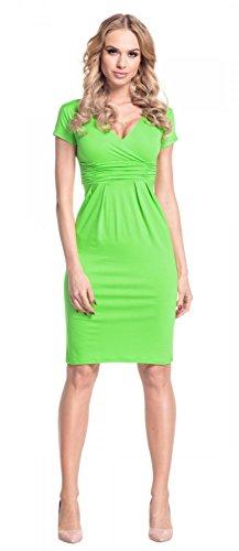 Glamour Manche 573 Femme Green cache courte Robe Robe effet coeur t fourreau Empire Pr0wZxqar