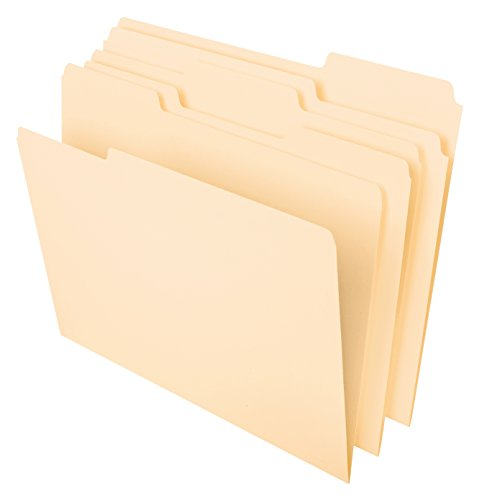 Pendaflex File Folders, Letter Size, 8-1/2 x 11, Classic Manila, 1/3-Cut Tabs in Left, Right, Center Positions, 100 Per Box (65213)