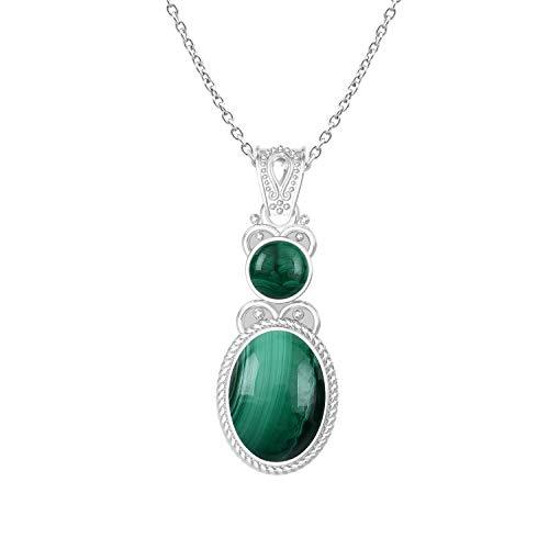 (GOURIK Genuine Malachite Silver Plated Over Brass Two Stone Chain Pendant)