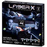 .LASER X. Micro Blasters Real Life Gaming Experience 4-Player Set, Includes 4 Micro Blasters & 4 Arm Band Receivers with Full Color Lighting Effects & Batteries