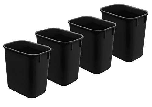 Acrimet Wastebasket 13QT (4 - Pack) (Black Color) ()