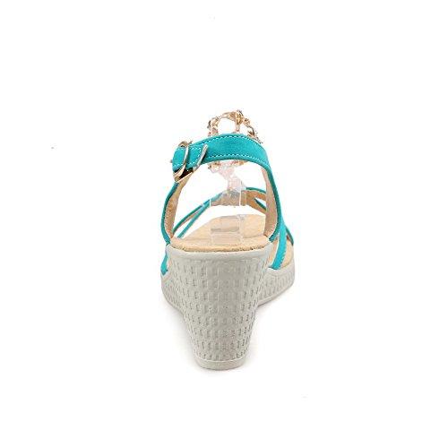 AllhqFashion Mujeres Puntera Abierta Hebilla Sólido Plataforma Sandalia de Cuña con Diamante Verde