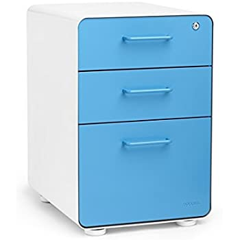 Ordinaire Poppin White + Pool Blue Stow 3 Drawer File Cabinet, Available In 10 Colors