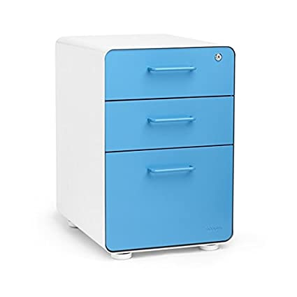 Attirant Poppin White + Pool Blue Stow 3 Drawer File Cabinet, Available In 10 Colors