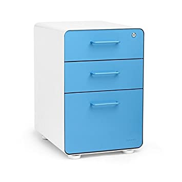 Poppin White + Pool Blue Stow 3-Drawer File Cabinet, Available in 10 Colors Amazon.com : Cabinet