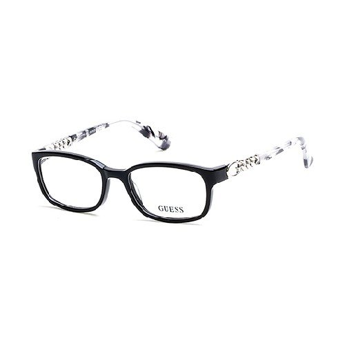 Guess Eyeglasses GU2558 GU/2558 001 Black Print/Silver Optical Frame 51mm