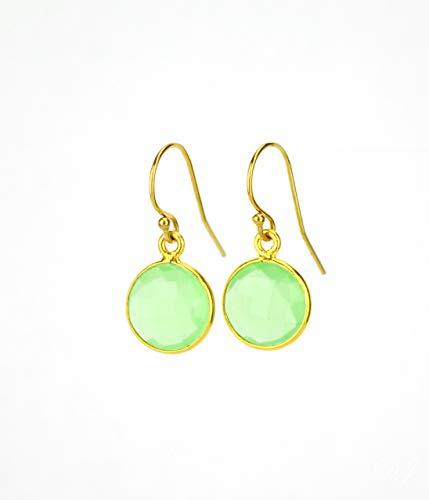 Green Chalcedony earrings, August Birthstone Earrings, dangle earrings, bridesmaid earrings gemstone (Chalcedony Topaz Earrings Blue)