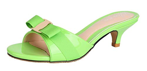 Jiu du Women's Slingback Slippers Cute Bowknot Slip On Open Toe Low Heels Ladies Sandals Green Patent PU Size US7 EU38 ()