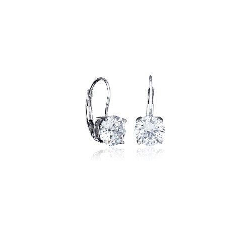 CRISLU Earrings, Platinum Over Sterling Silver Cubic Zirconia Leverback Earrings (2 ct. t.w.)