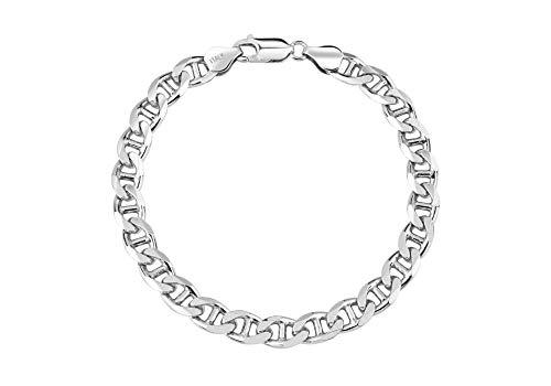 (Mens Sterling Silver 8MM Flat Mariner Link Chain Bracelet- Thick Silver Link Bracelets, Mens Silver Bracelet, Silver Bracelet for Men (8, 8MM))