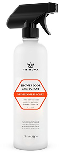 Shower Door Water Repellent Protects Glass from Soap Scum Mold Mildew. Hydrophobic Protectant Makes Cleaning Easier and Keeps Surface Looking New. 12oz TriNova