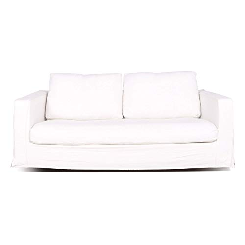 B & B Italia Baisity Designer Fabric Sofa White by Antonio Citterio Two-Seater Couch