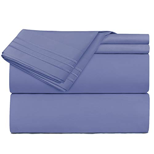 Queen Size Sheets - 4 Piece Queen Steel Blue Bed Sheet Set - Hotel Luxury Bed Sheets - Extra Soft Microfiber Sheets - Easy Fit 16
