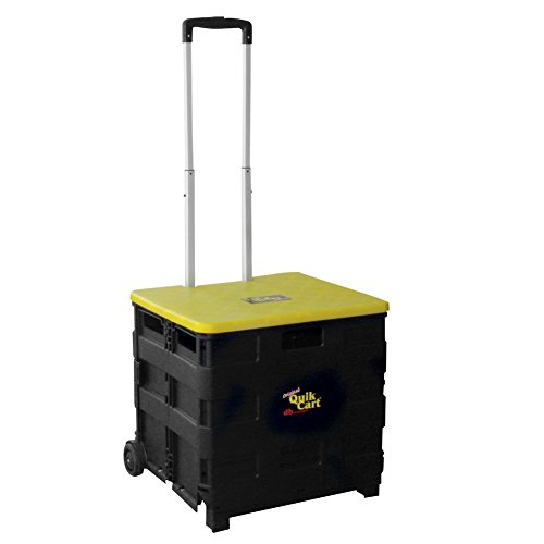 dbest products Quik Cart Two-Wheeled Collapsible Handcart with Yellow Lid Rolling Utility Cart with seat heavy duty lightweight (Return Cart Yellow)