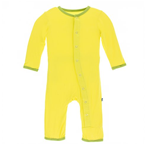 (Kickee Pants Little Boys Solid Coverall with Snaps - Banana with Meadow, 18-24 Months)