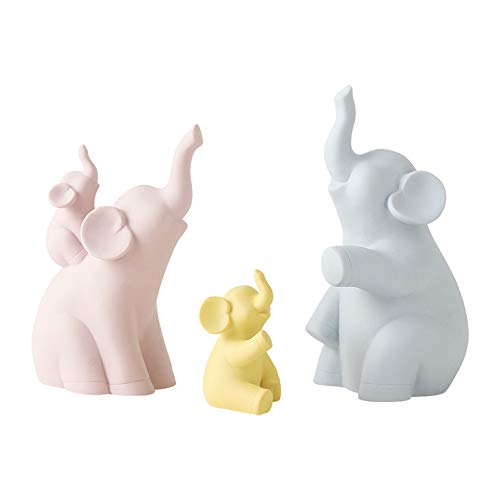 zPour Figurines Animal Decoration D cor Ceramics Ornament Elephant Family of 4