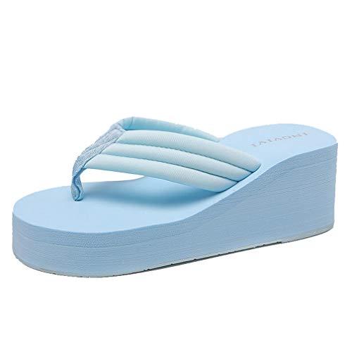 (Women's Platform Wedge Flip Flops Slip On Chunky EVA Mid Heels Clip Toe Thick Bottom Beach Thong Sandal Sky Blue)
