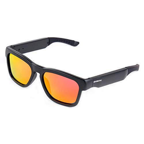 Inventiv Wireless Bluetooth Sunglasses, Open Ear Music & Hands-Free Calling, for Men & Women, Polarized Lenses, Compatible with iPhone/Android (Black/Red ()
